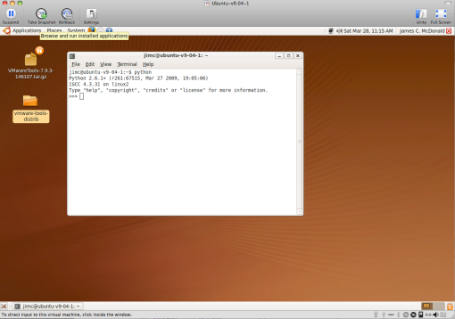 Ubuntu v9.04 Beta under VMware Fusion